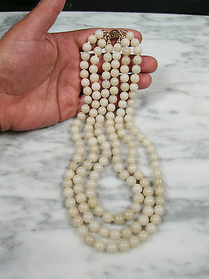 Chinese Carved Hetian Nephrite White Mutton Fat Jade 14K Gold 3 Strand Necklace