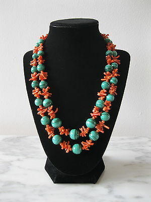 Antique Chinese Italian Coral Malachite Necklace Cloisonne Goldfish Silver Clasp