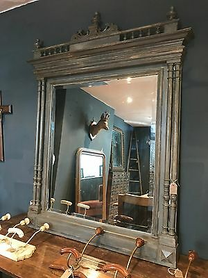 Stunning Large Vintage Antique French Painted Bevelled Mirror