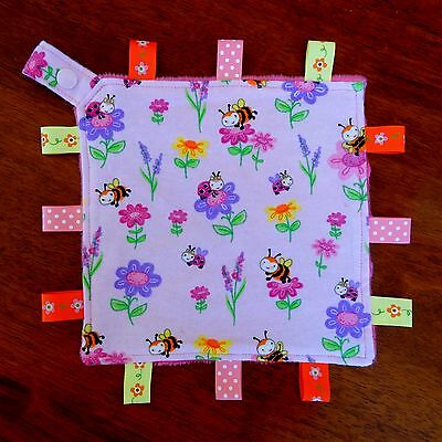 Bees & Friends Mini Size Taggie Security Blanket Toy Comforter dummy clip holder