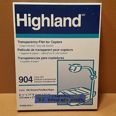 3M Highland 904 Clear Transparency Film  Copier 82 NEW Sheets, PARTIAL