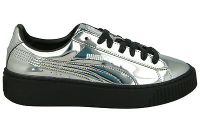 Puma Women s BASKET PLATFORM METALLIC Shoes Silver Puma Black 362339-06  Rhianna 5c9e647579