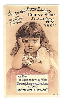 Standard Screw Fastened Shoes Trade Card Sad Girl