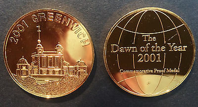 GOLD PLATED SILVER (.999 - 1 OZ) PROOF MEDAL by FRANKLIN MINT 2001 GREENWICH