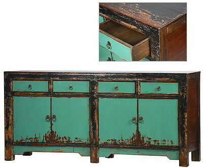 "71"" L Nevaeh antique aqua sideboard hand made 4 drawer spectacular quality"