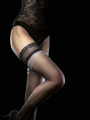 Fiore MILOS 20 Denier Thigh High Hold Up Stockings Nylons Lace Top FREE SHIP