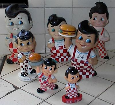 7 Different BOBS BIG BOY Figures, Banks, Toys, Nodders, etc, 1973 Bank included