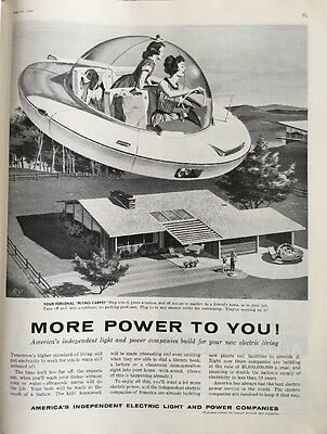 Vintage 50s America's Independent Electric Light & Power Companies Spaceship Ad