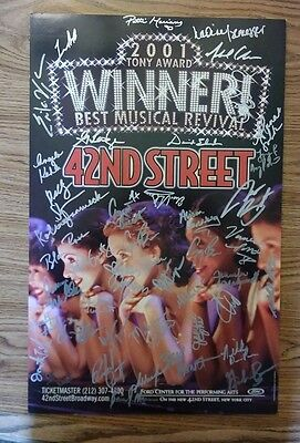 """Autographed """"42nd Street"""" Broadway Musical foam board poster 2002 Ford Center NY"""