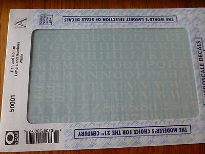 Microscale Decal #50001 Railroad Roman Letters and Numbers White