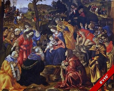 Adoration Of Jesus By The Magi 3 Wise Men Painting Bible Art Real Canvas Print