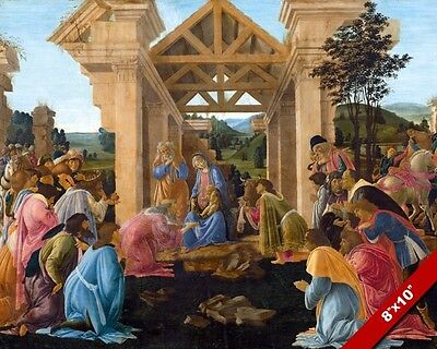 Adoration Of Baby Jesus By The Magi 3 Wise Men Painting Bible Art Canvas Print