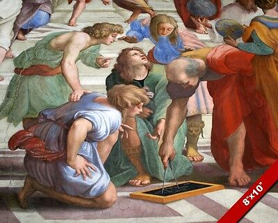 Geometry At The School Of Athens By Raphael Painting Art Real Canvas Print