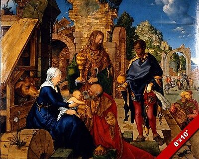 Adoration Of Jesus By The 3 Magi Wisemen Painting Bible Art Real Canvas Print
