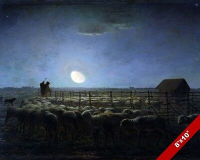The Moonlit Shepherd & Sheepfold Sheep At Night Painting Art Real Canvas Print