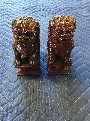 Chinese Foo dogs pair faux bookends figurines