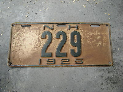 1925 25 New Hampshire Nh License Plate Tag  Rustic Antique Three Digit # 229