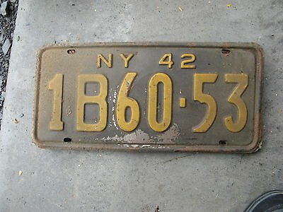 1942 42 New York Ny  License Plate Tag Rustic Antique 1B60-53