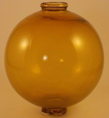 Antique Amber Glass Round Lightning Rod Ball for Weatheervane Old Vintage Parts