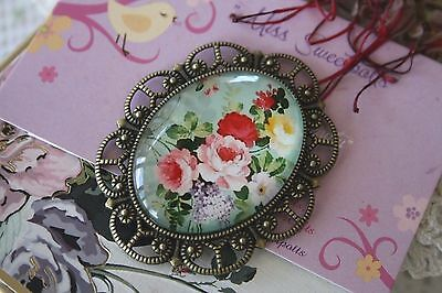 Vintage Style Rose Cameo Brooch Pin - Large Rose Flower Brooch Mothers Day Gift