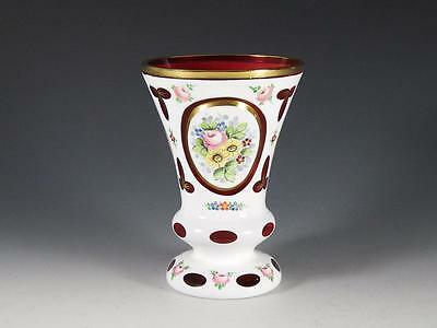 Bohemian White Cut To Cranberry Hand Painted Vase
