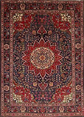 "Excellent Navy Blue/Red 7x10 Tabriz Persian Oriental Area Rug Wool 9' 6"" x 6' 10"