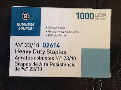 """Business Source 3/8"""" Heavy Duty Staples 1000 Count 60 Sheet 100 per strip 23/10"""