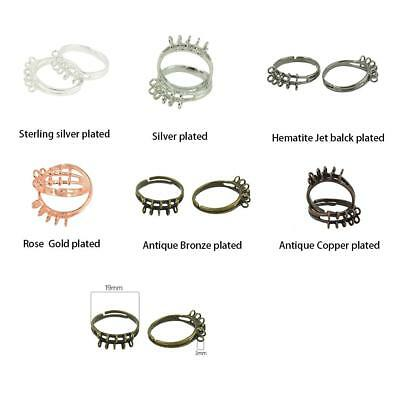 10Pcs Antiqued Metal Brass Adjustable Ring Bases Blanks Findings with 10 Loops