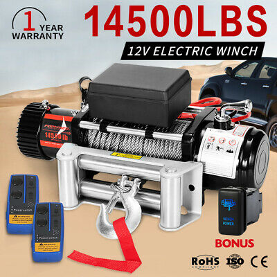 12V Electric Winch 14500LBS 26M Steel Cable Remote Wireless Offroad 4WD Truck
