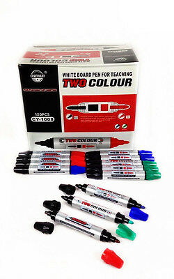 120pcs White Board Markers Double Ended Two Colors Dry Erase Marker 1008