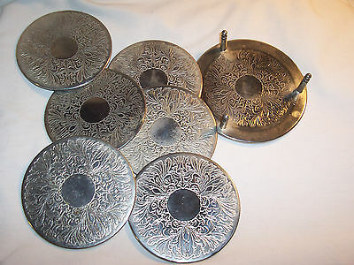 7 Pc SILVER PLATED COASTER & HOLDER SET  Rubber Backing  (#137)