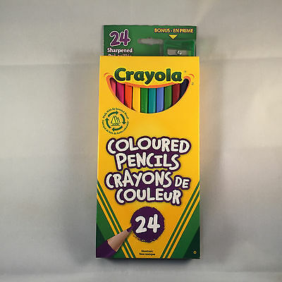 Crayola Coloured Pencils 24 Pack (free green sharpener)