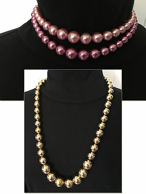 2 Vintage Ladies Classic Design Solid Beaded Necklaces Estate Jewelry FREE SHIP