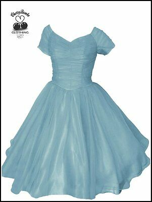 Pastel Vintage 50s Style Organza Tulle Dress Wedding Party Formal Sz 12 - 18