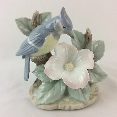 Blue Jay Bird and Flower Porcelain Figurine Statue
