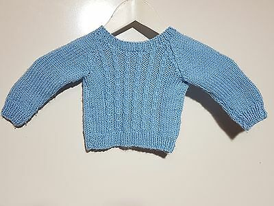 Handmade Blue Long Sleeve Knit Jumper Size 00 - 0