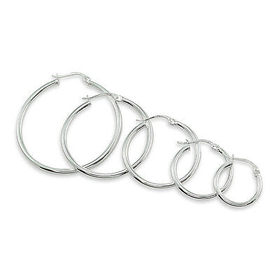 Sterling Silver 2mm High Polished Round Hoop Earrings, Choose A Size