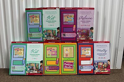 5-SET AMERICAN GIRL FASHION DESIGN PORTFOLIOS Sketch Paper Dolls Kits Outfit NEW