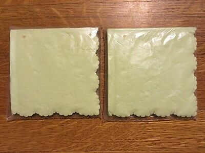 Vintage Light Green Scalloped Edge Beverage Napkins by House of Paper Qty 40 NOS