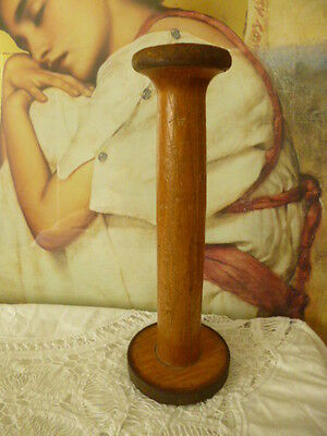 Vintage antique cotton reel bobbin industrial spool sewing hat wig stand wooden