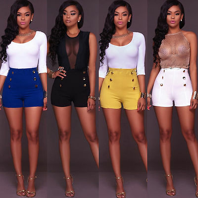 Fashion Women Vintage High Waist Summer Casual Shorts Short Hot Pants Trousers