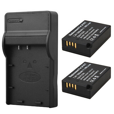 For Canon EOS 750D 760D M3 M5 T6i T6s 2Pcs 1500mAh LP-E17 Battery +Charger