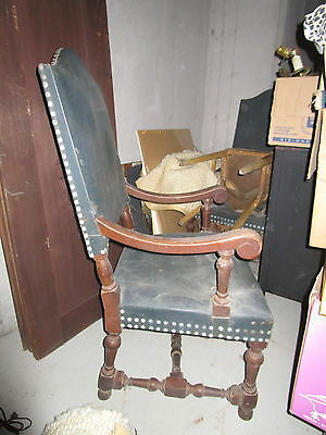 Pair of Stately Leather King Chairs ~ Sturdy Condition but need Reupholstery