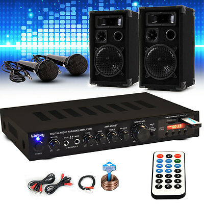 Karaoke Party Musik Anlage Receiver 4x Mikrofoneingang Bluetooth USB SD MP3
