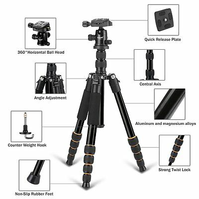ZOMEI Q666 Aluminium Travel Tripod Monopod Ball Head for Canon Nikon SLR Camera