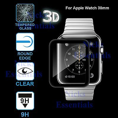 3D Black Genuine Tempered Glass Screen Protector For Apple Watch 38mm