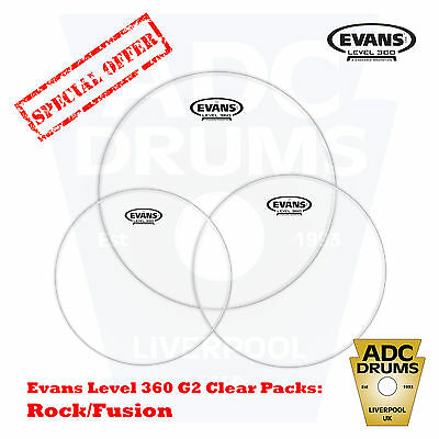 Evans G2 Clear Level 360 Tom Heads Set: Fusion/Standard Rock Drum Skins Pack