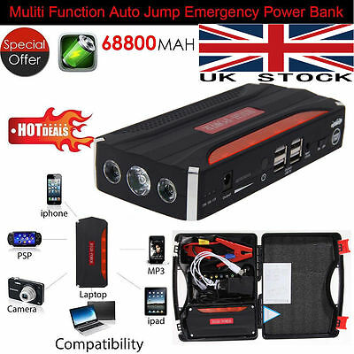 Portable Power Bank Car Jump Starter Pack Booster Charger Battery 12V 68800mAh