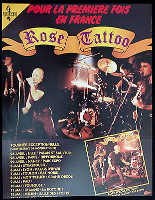 Rose Tattoo 1 Page Advert - French Magazine Rock & Folk. French Tour Dates 1981
