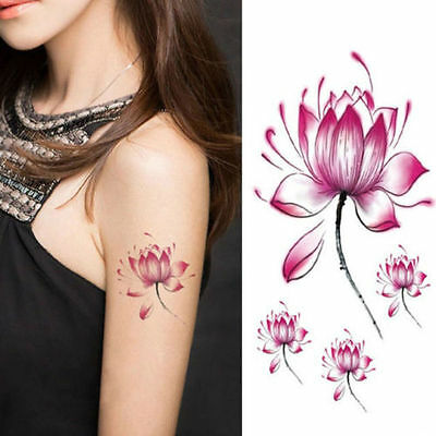 Purple Lilly Flower Temporary Tattoos 3D Body Art Stickers Fake Kids and Adults